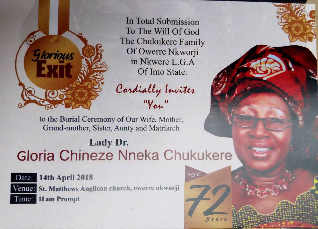 Service of Songs for Mrs Chukukere