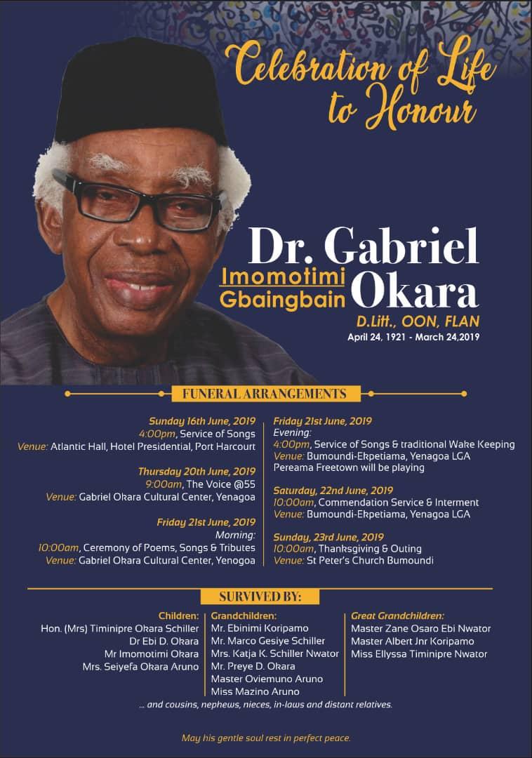 Burial Arrangements Dr Gabriel Okara