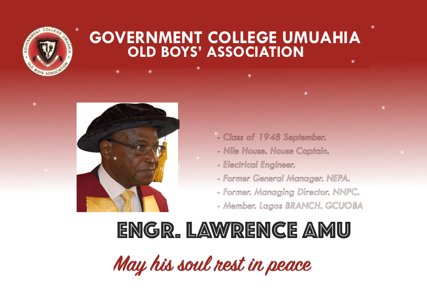DEATH OF ENGR LAWRENCE AMU, 1948 SEPT CLASS.