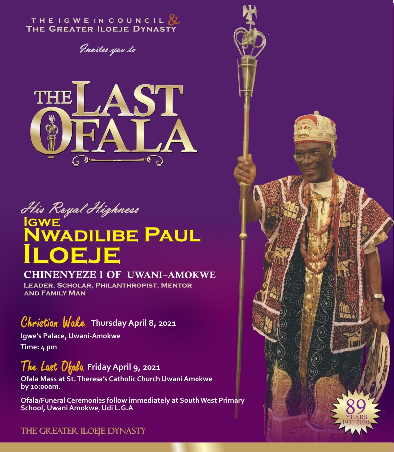 CELEBRATION OF LATE (IGWE) N.P. ILOEJE. Geography  Master.